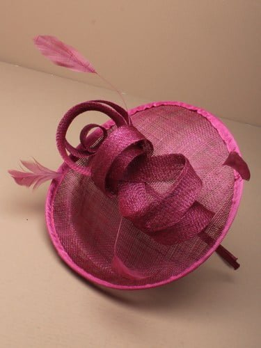 Pink fascinator with bow and feathers on aliceband. (alt 3)