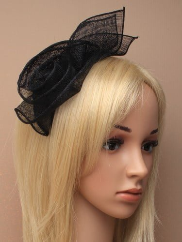 Black fascinator with flower and leaves on aliceband. (alt 1)