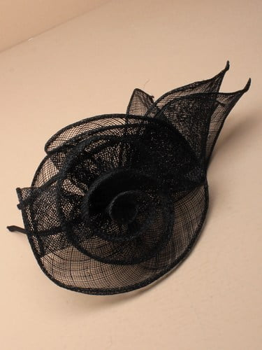 Black fascinator with flower and leaves on aliceband. (alt 3)