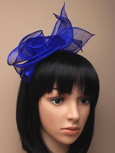 Royal blue fascinator with rose and leaves on aliceband. (alt 1)