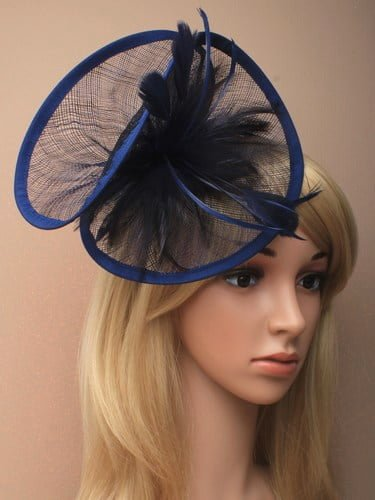 Large navy blue twisted fascinator with feathers on aliceband.