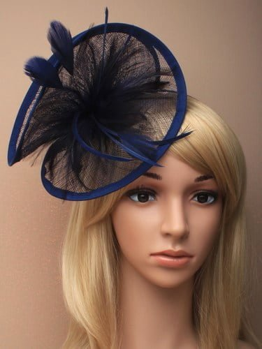 Large navy blue twisted fascinator with feathers on aliceband. (alt 1)