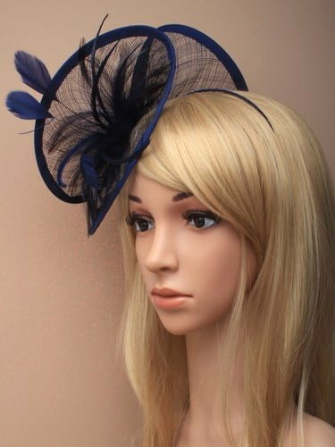 Large navy blue twisted fascinator with feathers on aliceband. (alt 2)