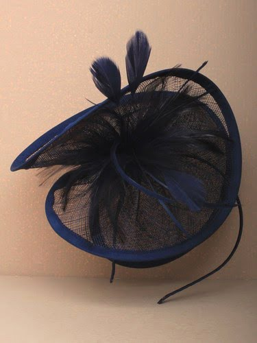 Large navy blue twisted fascinator with feathers on aliceband. (alt 3)