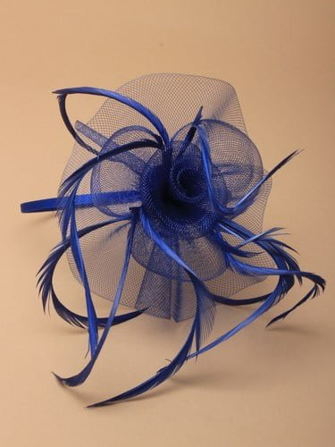 Royal blue fascinator with flower and feathers on aliceband. (alt 1)
