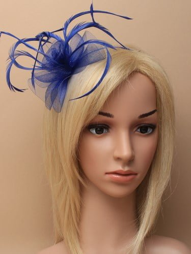 Royal blue fascinator with flower and feathers on aliceband. (alt 2)