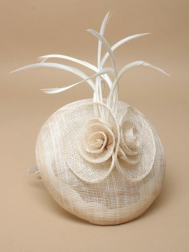 Ivory cap fascinator with flower and feathers on aliceband. (alt 1)