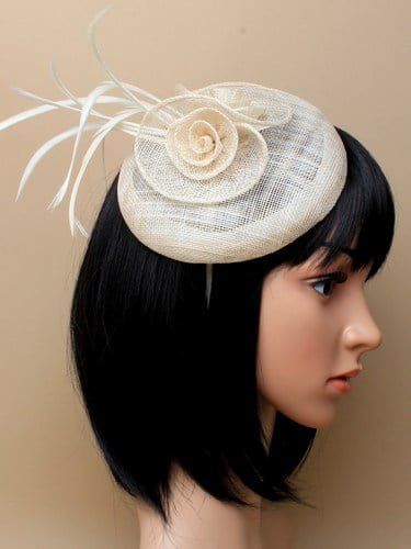 Ivory cap fascinator with flower and feathers on aliceband. (alt 2)