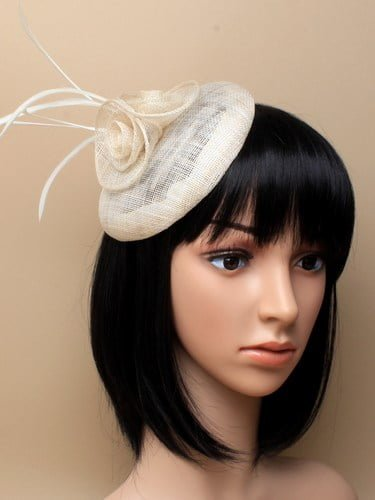 Ivory cap fascinator with flower and feathers on aliceband. (alt 3)