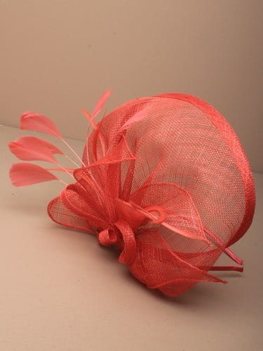 Large coral fascinator with bows, leaves and feathers on an aliceband. (alt 3)