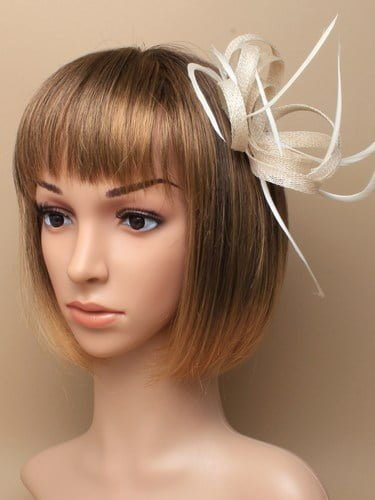 Ivory fascinator with loops and feathers on clip and pin. (alt 1)