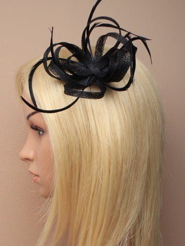 Black fascinator with loops and feathers on clip and pin. (alt 1)