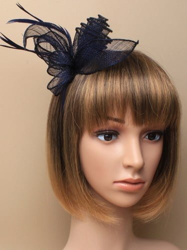 Navy blue fascinator with flower and feathers on aliceband. (alt 1)