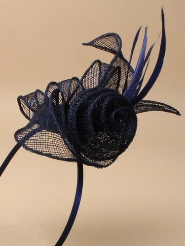 Navy blue fascinator with flower and feathers on aliceband. (alt 2)