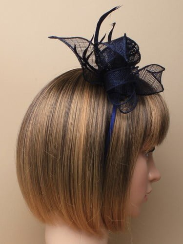 Navy blue fascinator with flower and feathers on aliceband. (alt 3)