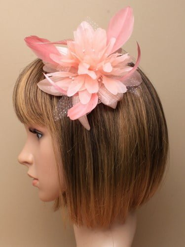 Light coral feather flower fascinator on comb. (alt 1)