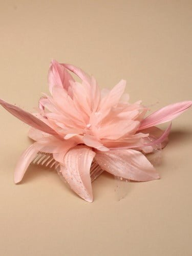 Light coral feather flower fascinator on comb. (alt 2)