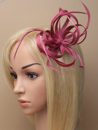 Cranberry looped fascinator with feathers on clip and pin.