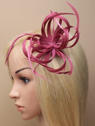 Cranberry looped fascinator with feathers on clip and pin. (alt 1)
