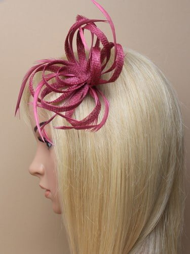 Cranberry looped fascinator with feathers on clip and pin. (alt 2)