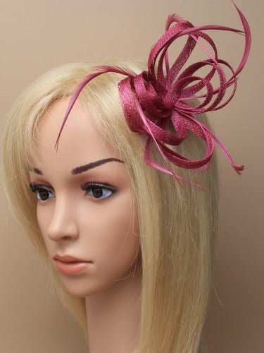 Cranberry looped fascinator with feathers on clip and pin. (alt 3)