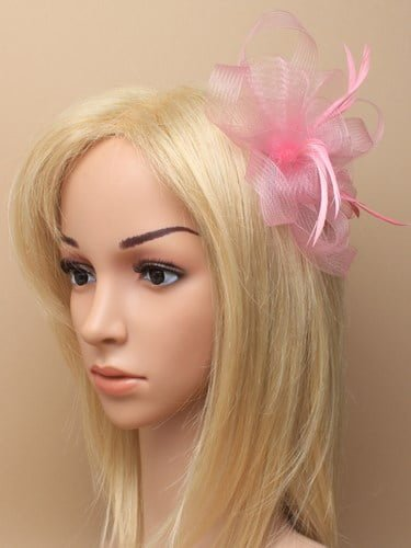Rose pink looped net fascinator on clip and pin. (alt 1)