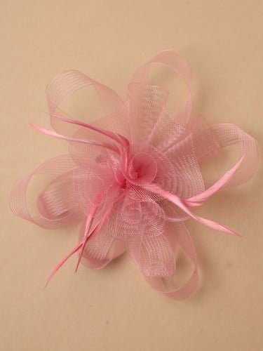 Rose pink looped net fascinator on clip and pin. (alt 2)
