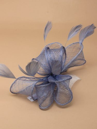 Blue fascinator with bows and feather tendrils on clear comb. (alt 2)