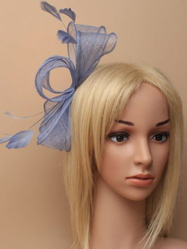Blue fascinator with bows and feather tendrils on clear comb. (alt 3)