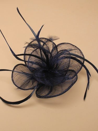 Navy blue fascinator with simulated flower and feather tendrils on clip and pin. (alt 1)