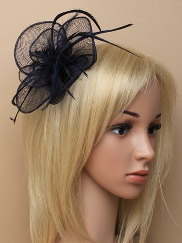 Navy blue fascinator with simulated flower and feather tendrils on clip and pin. (alt 2)