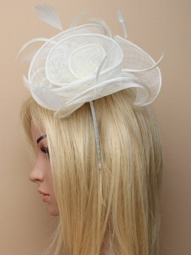 Large cream flower shaped fascinator with feather tendrils on aliceband. (alt 3)
