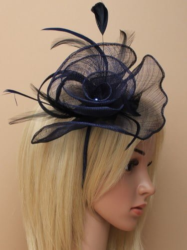 Navy blue fascinator with feathers on aliceband. (alt 1)