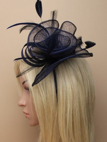 Navy blue fascinator with feathers on aliceband. (alt 3)