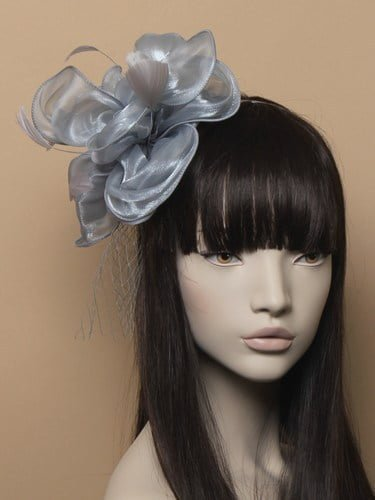 Grey chiffon fascinator with net and feathers on aliceband. (alt 1)