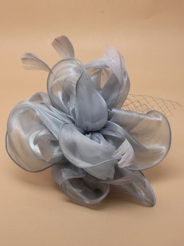 Grey chiffon fascinator with net and feathers on aliceband. (alt 2)