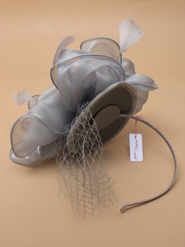 Grey chiffon fascinator with net and feathers on aliceband. (alt 3)