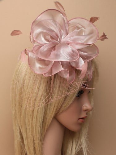 Dusky pink chiffon fascinator with net on aliceband. (alt 2)