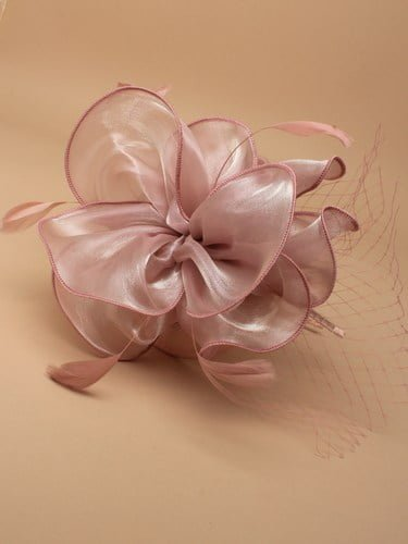 Dusky pink chiffon fascinator with net on aliceband. (alt 1)