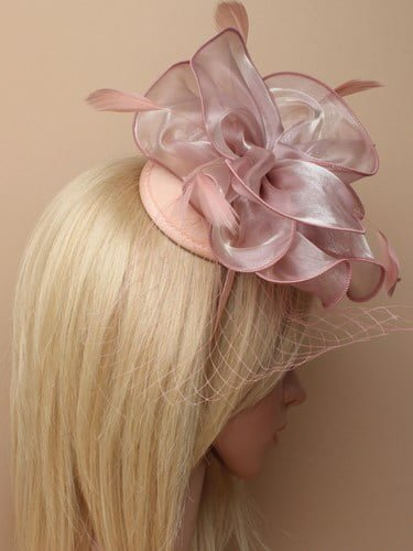 Dusky pink chiffon fascinator with net on aliceband. (alt 3)