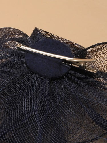 Navy blue flower shaped fascinator on clip. (alt 4)