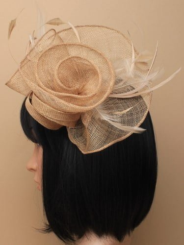 Large latte coloured flower shaped fascinator on clip. (alt 1)