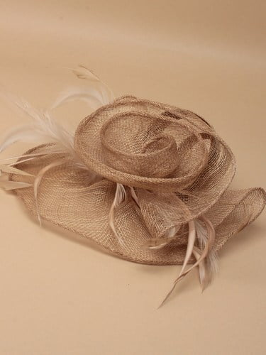 Large latte coloured flower shaped fascinator on clip. (alt 2)