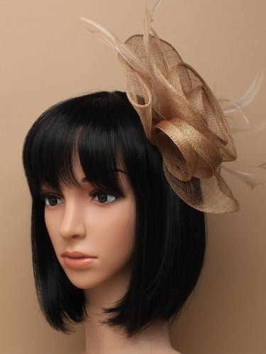 Large latte coloured flower shaped fascinator on clip. (alt 3)