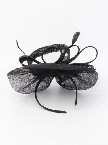 Large black sinamay fascinator with feathers on aliceband. (alt 2)