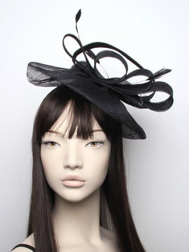 Large black sinamay fascinator with feathers on aliceband. (alt 3)