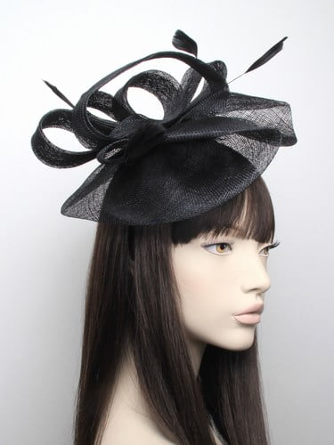 Large black sinamay fascinator with feathers on aliceband.