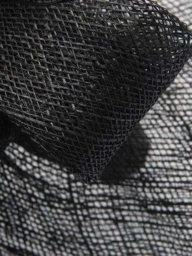 Large black sinamay fascinator with feathers on aliceband. (alt 4)