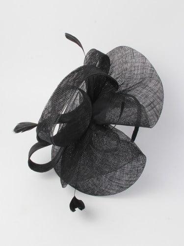 Large black sinamay fascinator with feathers on aliceband. (alt 5)