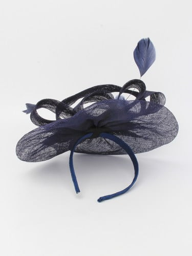 Large navy blue fascinator with feathers on aliceband. (alt 1)